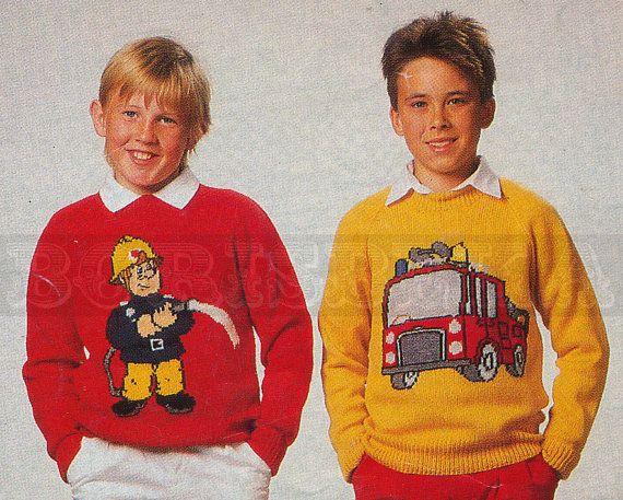 Childs Jumper Knitting Pattern : vintage Adult and Childs FIREMAN SAM jumper knitting patterns (80s) (PDF) K...