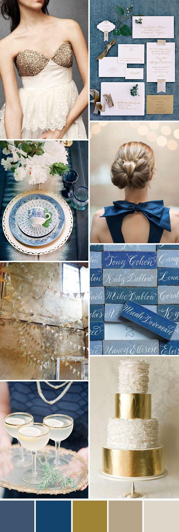 Blue and Gold Wedding Color Palette Ideas - Deer Pearl Flowers / http://www.deerpearlflowers.com/top-5-blue-wedding-color-palette-ideas-you-will-love/blue-and-gold-wedding-color-palette-ideas/