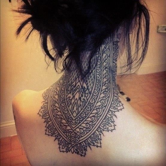 Wow... I don't have the balls for this, but it's pretty amazing #neck tattoo