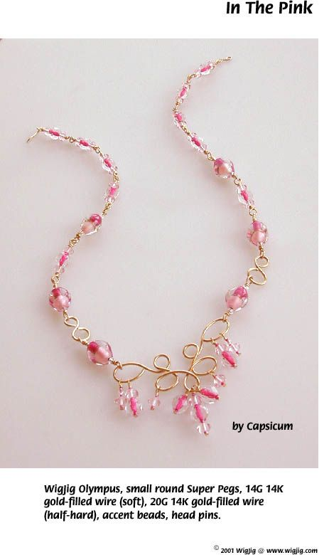 In the Pink Wire and Beads Necklace made with WigJig jewelry making tools, beads and jewelry supplies.