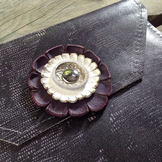 Lizard Print Leather iPad Case with Purple/White/Silver Gerbera Daisy Flower by HeartnSoulHandbags on Etsy, $80.00