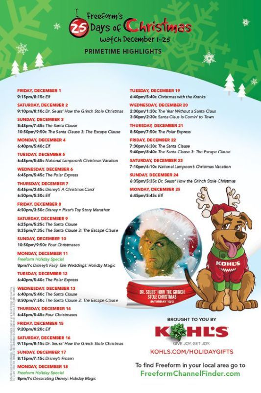 photograph relating to Abc Family 25 Days of Christmas Printable Schedule titled Pin upon KATIE M