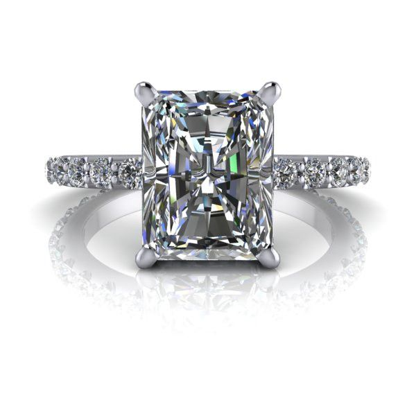 Forever Brilliant Moissanite and Diamond Radiant Cut Engagement Ring 2.98 CTW