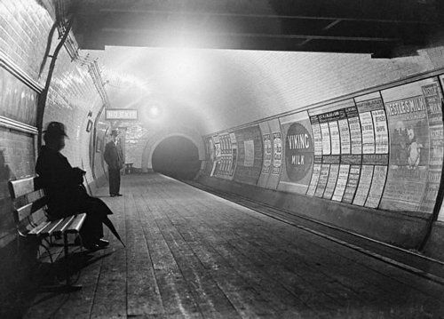 London underground in the 1890s.    Most people don't realize how abundant advertisements were in 19th century London. This photograph is a great example of why the Victorian era was considered the beginning of modernity.
