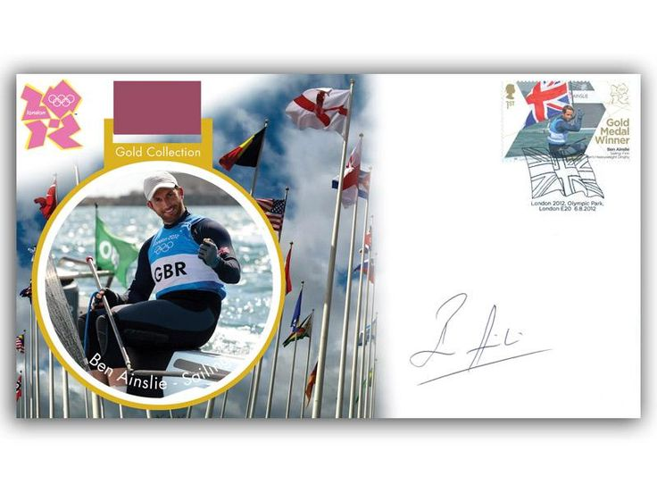 London 2012 Olympic Gold Medal Winners cover. Personally Autographed by Sir Ben Ainslie. Sailing