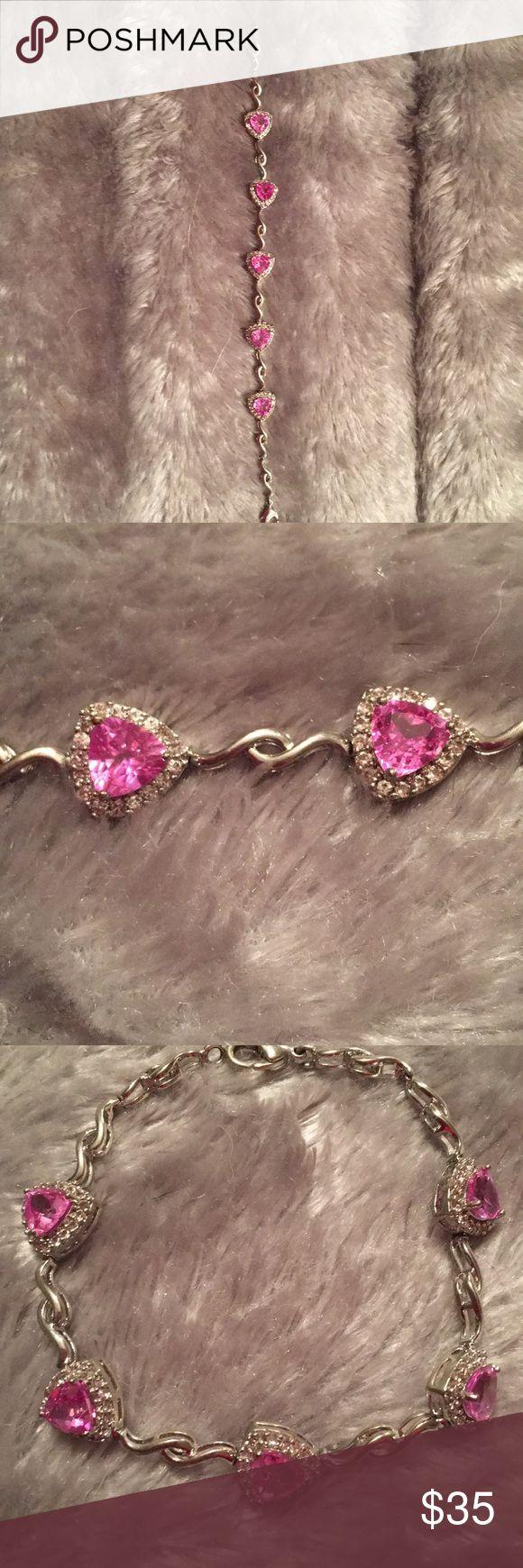 Sterling Silver Bracelet Pink Ice Hearts Sterling Silver Pink Ice Heart Bracelet  Gently Used  Lobster Clasp Jewelry Bracelets