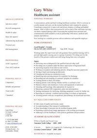 Health Care Resume Templates | Healthcare assistant CV
