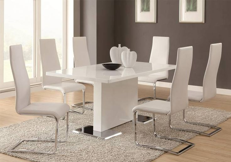 Nameth Modern Dining Room Set with White Chairs