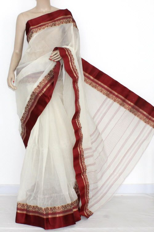 Off White Maroon Handwoven Bengal Tant Cotton Saree (Without Blouse) 14245
