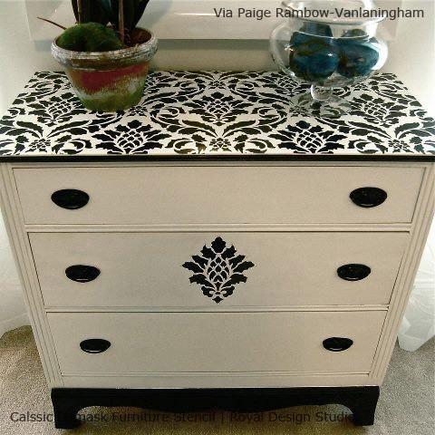 Image result for diy stencil dresser top
