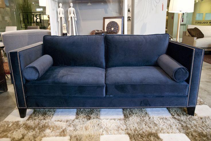Marco Sofa w/nails & bolster pillows #customsofa #velvetsofa #bluemodernsofa #customfurniture #urbancolony