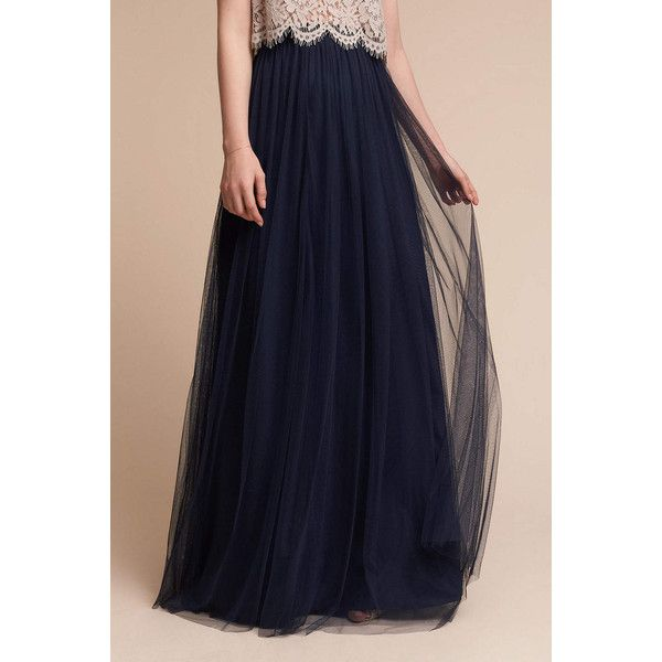 Anthropologie Louise Tulle Skirt (275 AUD) ❤ liked on Polyvore featuring skirts, navy, blue tulle skirt, tulle skirts, long tulle skirt, anthropologie maxi skirt and long navy skirt