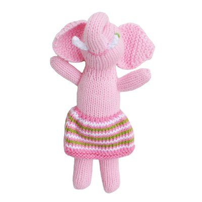 Perfect for little hands - shake it up baby! The irresistible cuteness of a Blabla handmade knitted rattle just never ends! So cute, squishy, cuddly and fun, with so much character. These adorable rattle friends are made from 100% cotton, and handmade in Peru - bringing a little bit of tenderness to children everywhere.  Measures 18cm tall  Sweet pink elephant baby rattle