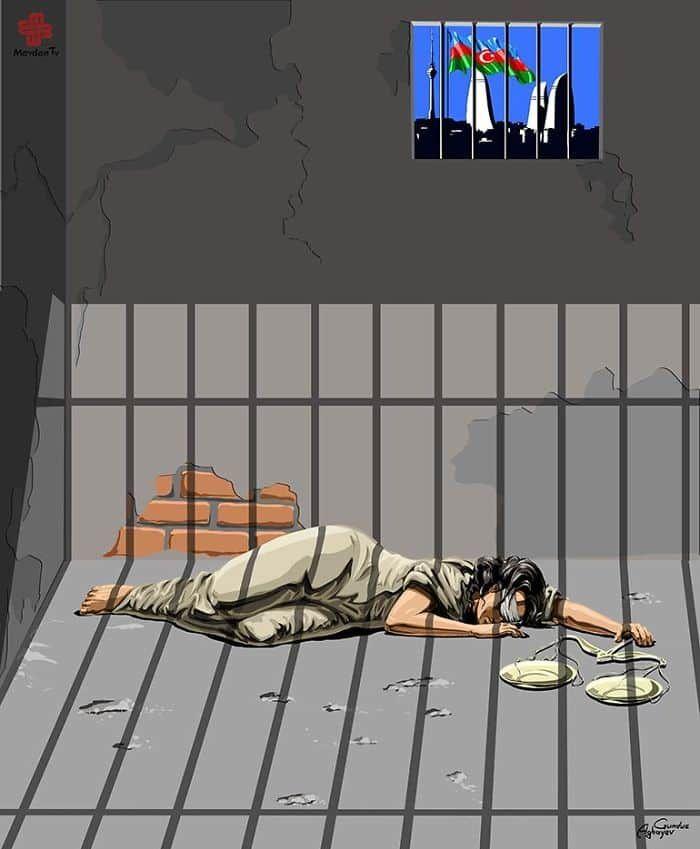 O cartunistaGunduz Agayev dessa vez escolheu o tema justiça e direitos humanos universais onde mostraTêmis (Femida) em vários países, incluindo o Brasil.