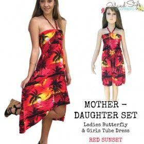 red sunset mother & daughter matching hawaiian shirt and dress luau fancy dress