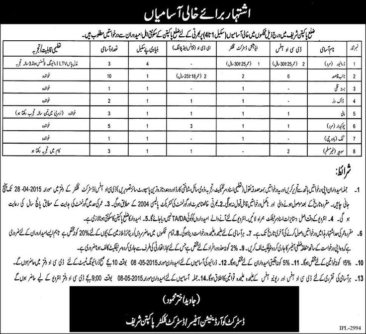 District Government Pakpattan Sharif Jobs Qualification for Driver Middle plus Driving Licence with 3 year experience . All applications written by hand