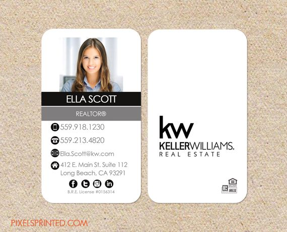 KW realtor business cards - thick, color both sides - FREE UPS ground shipping