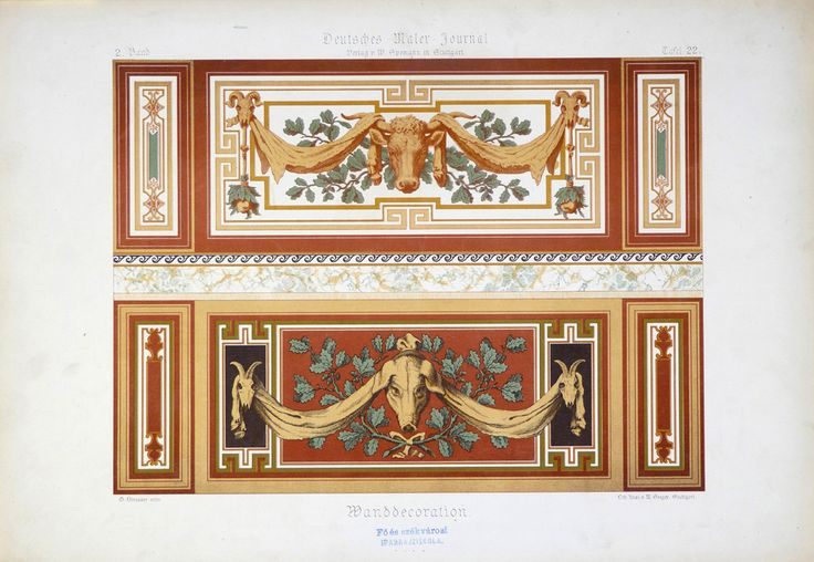 Strasser, G. M. Seeger, Stuttgart Wanddekoration [1877-1894] 2. Band, Tafel 22. Deutsches Maler-Journal : Plafonds, Vestibule, Treppenhauser, Wanddecorationen, Sgraffiten, Holz- und Marmor-Malerei, Blumen, Alphabete, Schilder, Embleme, Plakate etc. Stuttgart : W. Spemann, [1877-1894] Schola Graphidis Art Collection, Hungarian University of Fine Arts - High School of Visual Arts, Budapest This item is under the following Creative Commons license: CC BY-NC-ND 4.0