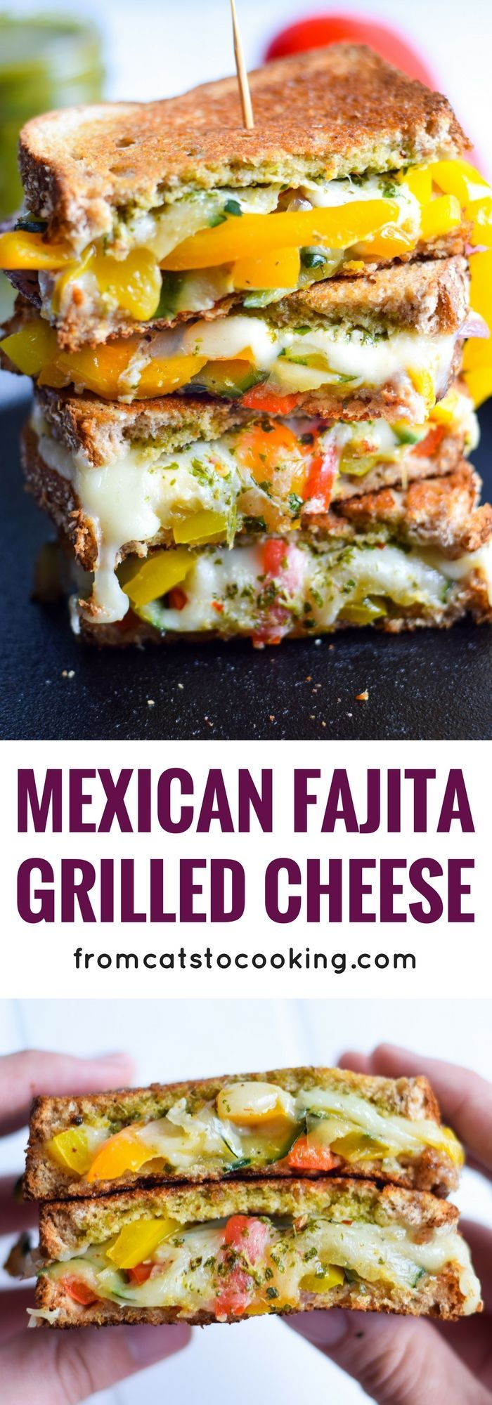 Made with sautéed vegetables, a cilantro parsley chimichurri spread and lots of melted cheese, this Mexican Fajita Grilled Cheese will leave you full and oh so happy. (vegetarian)