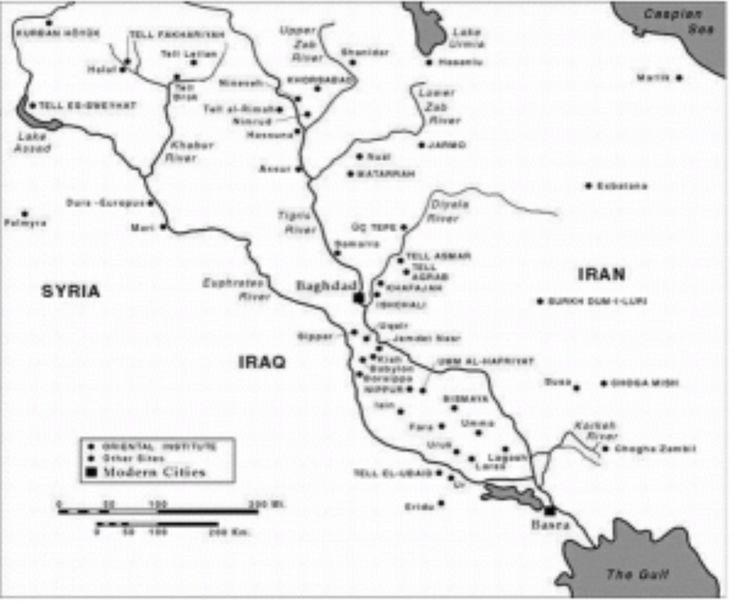 """MESOPOTAMIA El término  significa en griego """"entre ríos"""". La región así denominada abarcaba inicialmente los territorios comprendidos entre los ríos Tigris y Eufrates. En la actualidad comprende a Iraq y el este de Siria.  La abundancia de agua creó una gran riqueza natural, hasta el punto de que, según la Biblia, estuvo allí localizado el Paraíso. El neolítico pronto alcanzó un gran desarrollo en Mesopotamia, con asentamientos urbanos importantes, como Eridu o Uruk (desde el año 3.750…"""