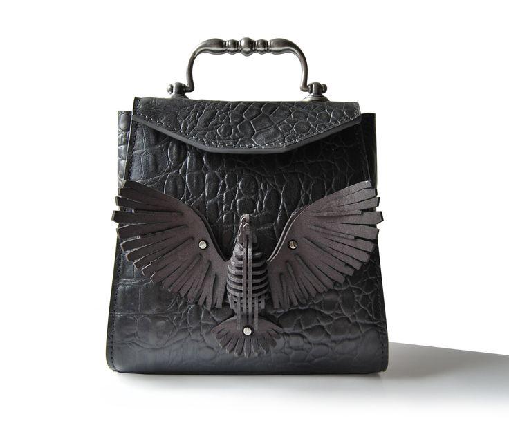 Retro Bird, Black crock leather, 3D printing, Exocet Paris, Vintage handle