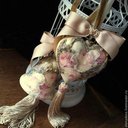 """Medálok kézzel.  """"Roses en poudre"""" Belső harang és a szív.  Elena Gvozdev.  Fair Masters.  Belsőépítészeti"""