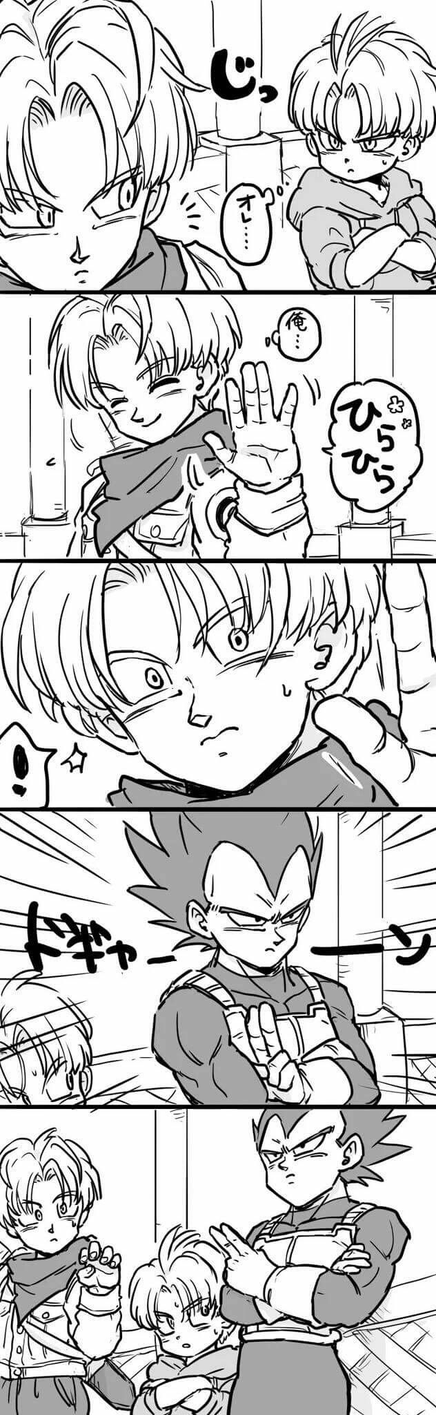 Vegeta, Trunks y Trunks del futuro