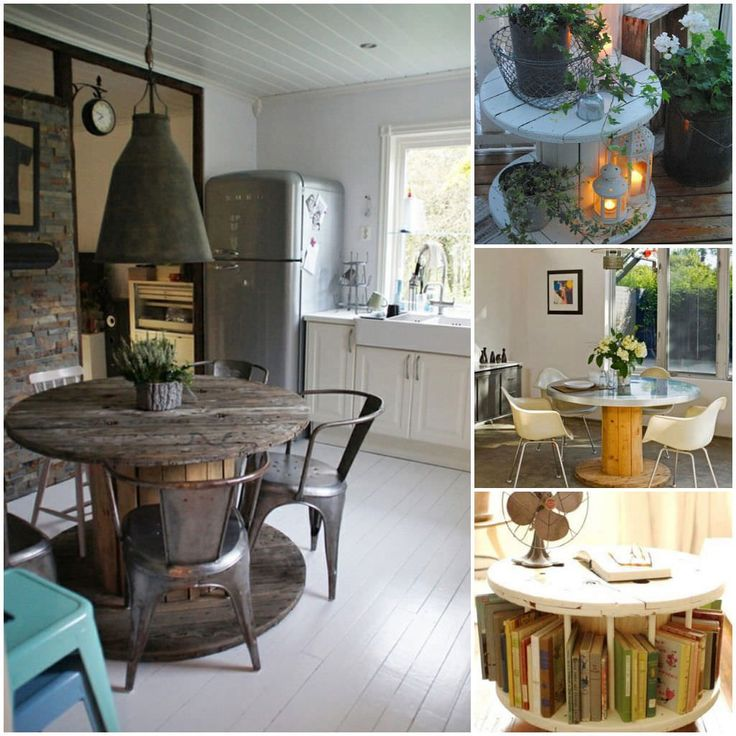 Here are 6 ways of reusing reels for your interior decoration, the small ones can be reused as coffee tables, the bigger ones can be used as kitchen tables