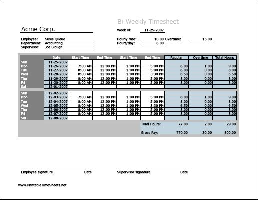 Biweekly Timesheet (horizontal orientation) with overtime calculation Printable Time Sheets, free to download and print