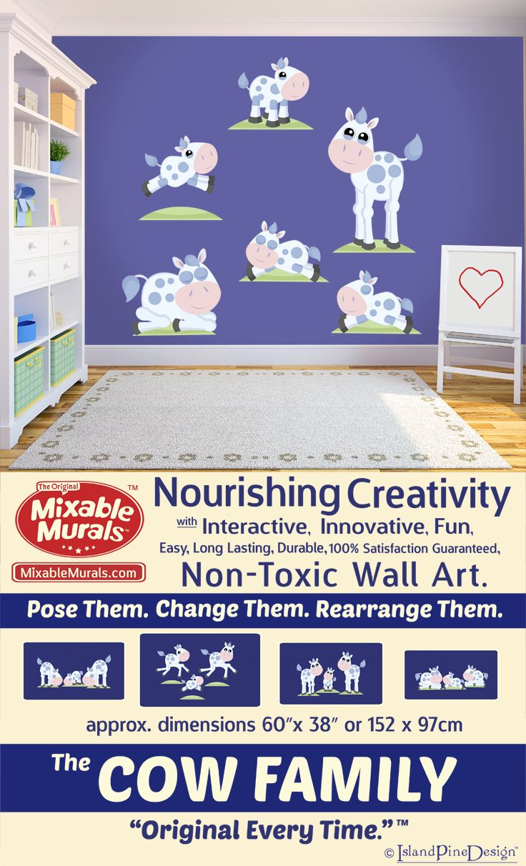 Searching for wall paper and decorating ideas? Decorate and spark children's creativity with interactive non-toxic wall sticker kits from Mixable Murals.  The Cow Family.    -100% Satisfaction Guaranteed -Durable-Non Toxic -Long Lasting-High Quality Materials -No Mess -No Residue -Easy To Use -No Tools Required -Tear Resistant -Stretch Resistant -Wrinkle Resistant -Boredom Resistant -Always Original.  Pose Them. Change Them. Rearrange Them. www.mixablemurals.com