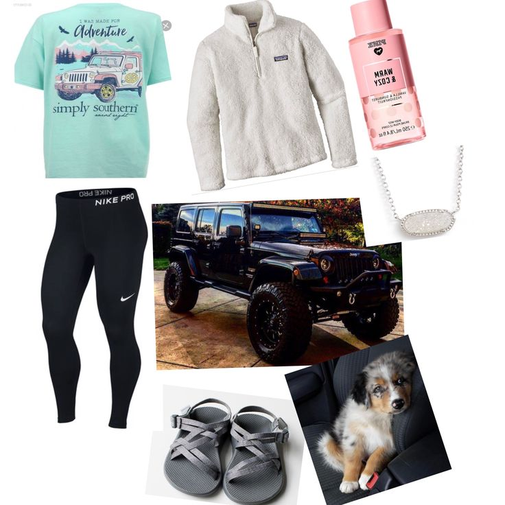 Day out shopping and going to boyfriend house ~vs/pink warm and cozy body mist ~ simply southern t-shirt ~ Patagonia jacket ~ Nike black tight~Chacos shoes ~ Kendra Scott Necklace~Jeep ❤️