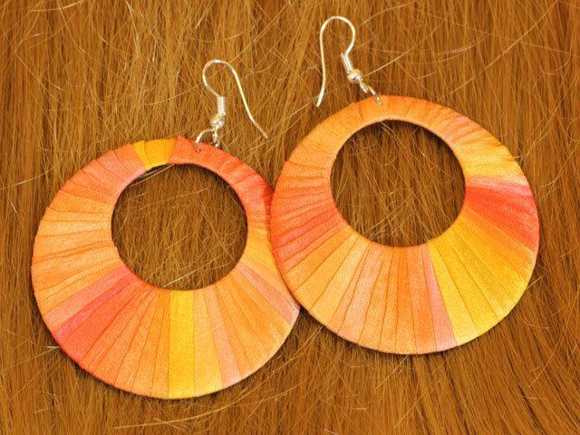Unique handcrafted silk earrings, sun coloured hoop earrings by intuitashop on Etsy