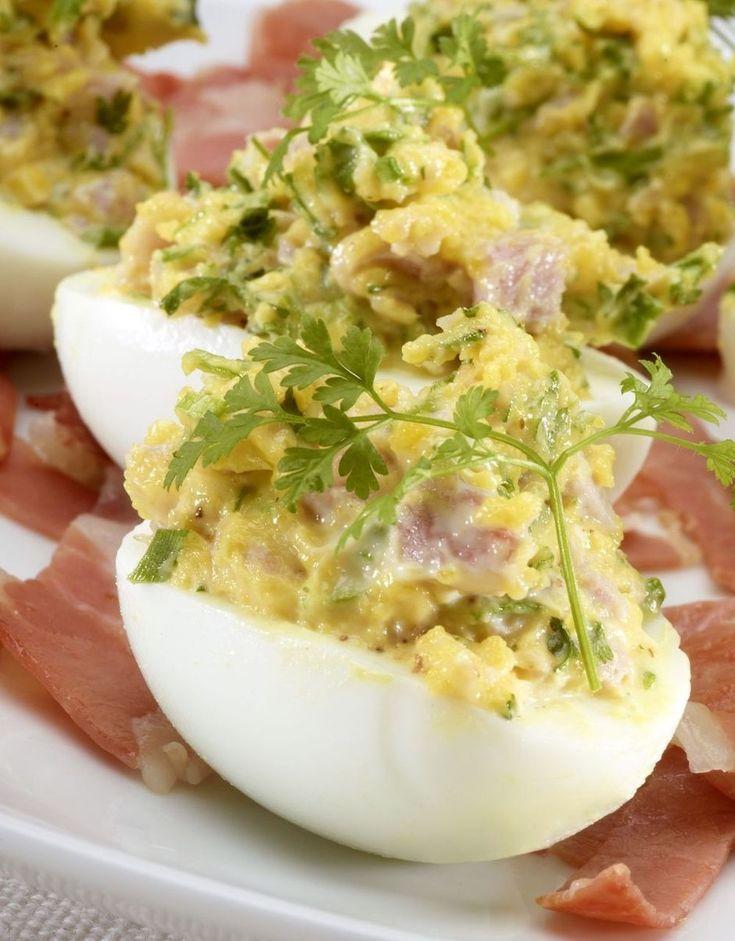 Gevulde eieren met ham