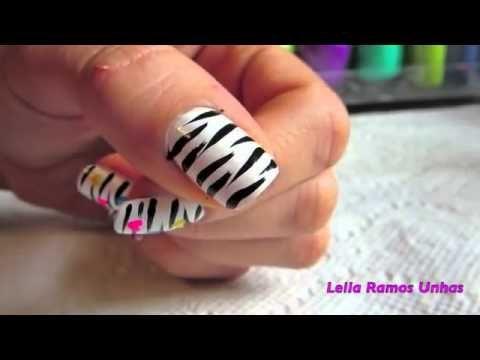unhas decoradas  passo a passo: Zebra