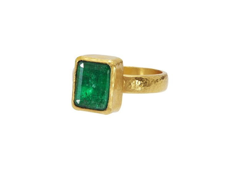Gurhan, Step Cut Emerald Ring, 24k Gold and Emerald #Gurhan #finejewelry #alternativeengagementrings #goldring