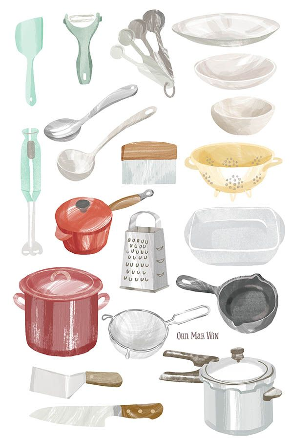 Illustrations Of Kitchen Utensils Cooking Pans And Plates By Ohn