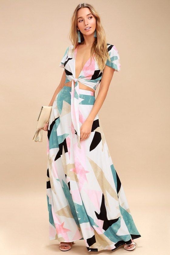 4ca9fa9edb You'll be floating on a cloud in the Daydreaming White Print Two-Piece Maxi  Dress! Soft and breezy woven rayon, in a white, pink, teal, beige, ...