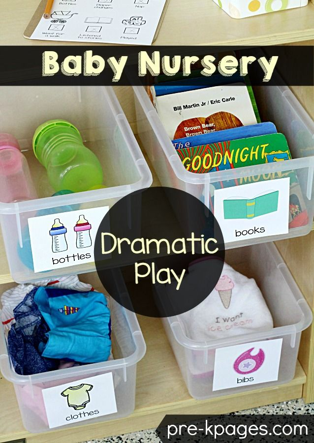 These look great to use in a playroom.  Baby Nursery Pretend Play Printables for…