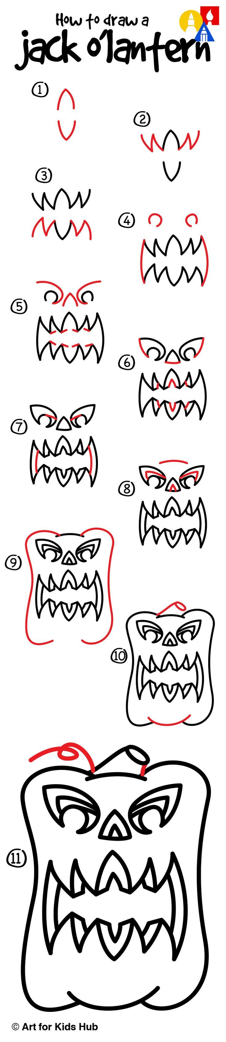 How to draw a 3D jack o'lantern!