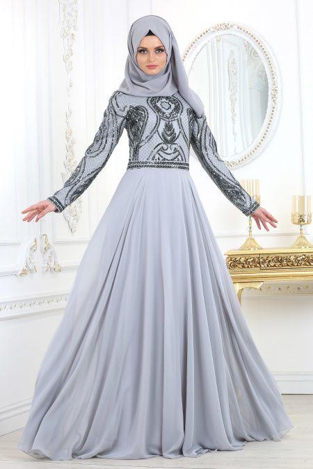 6aba0d4b3b6c5 Tesettürlü Abiye Elbise - Pul Payet Detaylı Gri Tesettür Abiye Elbise 2284GR