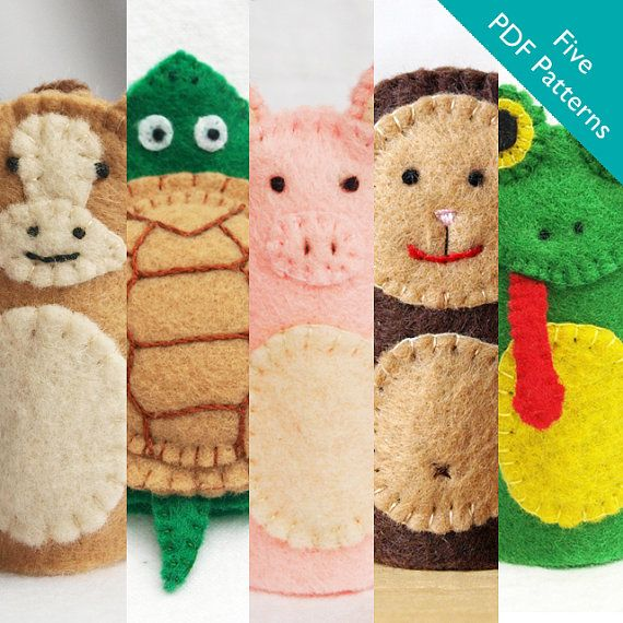 These are PDF patterns for 5 felt finger puppets. The pattern includes:  1) Horse  2) Turtle  3) Pig  4) Monkey  5) Frog    Each pattern contains