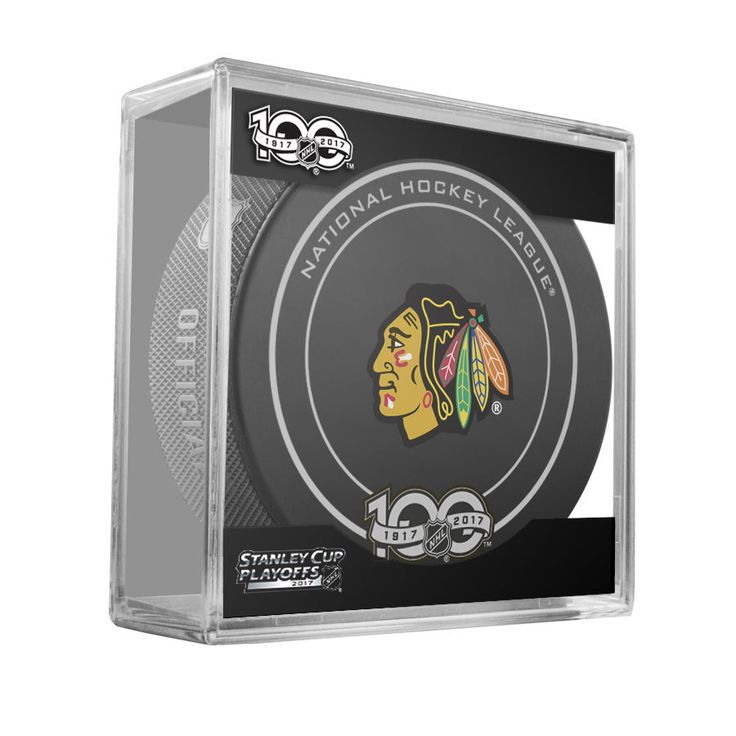 CHICAGO BLACKHAWKS 2017 Stanley Cup Playoffs OFFICIAL GAME PUCK New 100th Ann. #Sherwood #ChicagoBlackhawks
