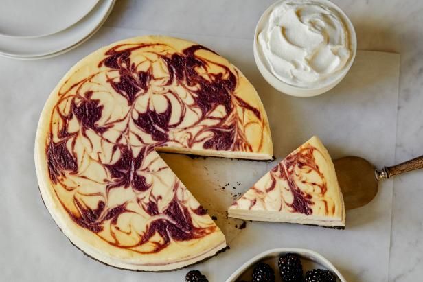 Get Blackberry Swirl Cheesecake Recipe from Food Network-use our raspberries