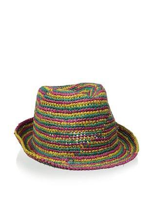 54% OFF Straw Studios Women's Stripes Fedora, Colorful Multi