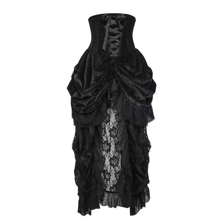 VG London Burlesque fluwelen underbust korset jurk met kanten rok zwar