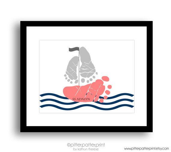 Navy Coral Nautical Nursery Art, Sailboat Baby Footprint Art Print, Baby Girl Nursery, Personalized Baby Girl Nursery, Girls Room Wall Art