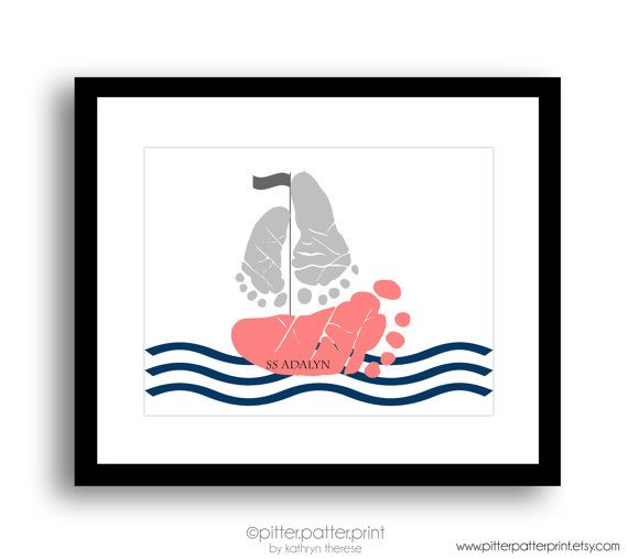 Navy Coral Nautical Nursery Art, Sailboat Baby Footprint Art Print, Baby Girl Nursery, Personalized Baby Girl Nursery, Girls Room Wall Art