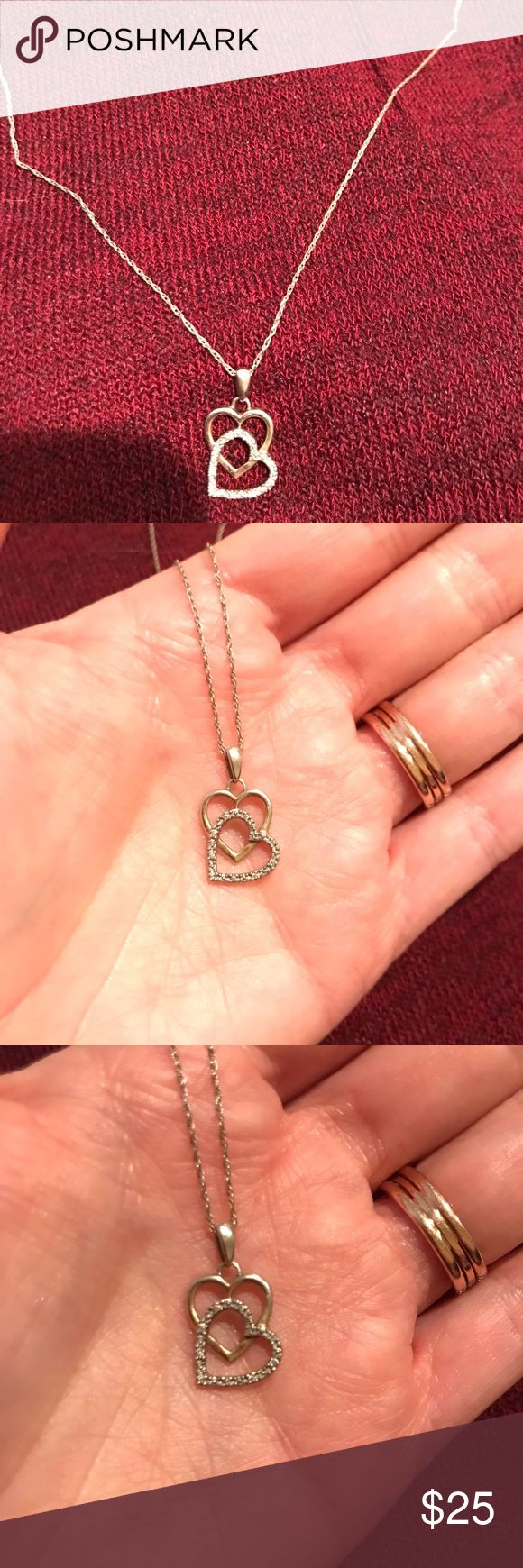 Diamond heart necklace Real gold plated, gold chain and 10 small diamonds, needs polishing Jewelry Necklaces