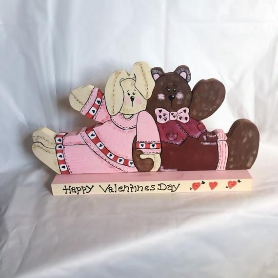 Happy Valentinstag Zeichen, Valentinstag Herzstück, hölzerne Valentinstag Dekor, Valentinstag paar Dekor, Bunny und Bär Valentinstag   – Handmade Items for Sale