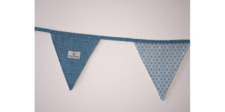Guirlande fanions bleus tissu Labo & si